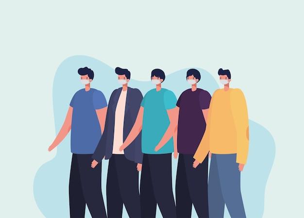 カジュアルな男性のアイコンのイラストデザインのバンドル