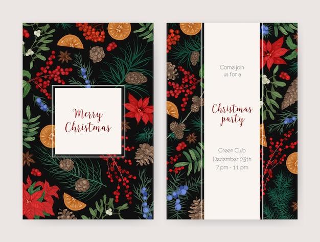 Набор рождественских флаеров, открыток или шаблонов приглашений на вечеринку, украшенных нарисованными вручную сезонными растениями