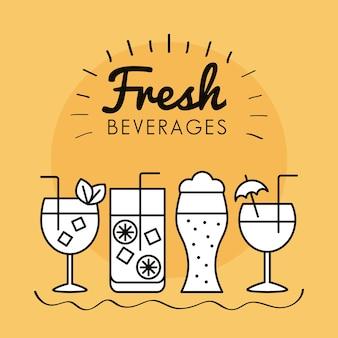 Набор иконок напитков коктейлей.