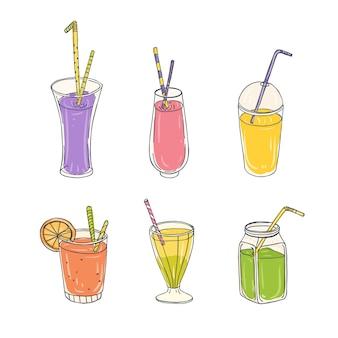 ストロー-スムージー、レモネード、ジュース、カクテルなどのさまざまなグラスにカラフルな健康ドリンクの束。
