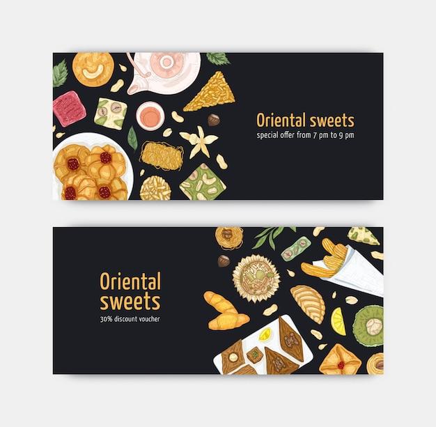 プレートに甘いオリエンタルデザートが付いたクーポンまたはバウチャーテンプレートのバンドル。伝統的なおいしいお菓子、おいしいペストリー。菓子広告のためのエレガントでリアルなベクトルイラスト。
