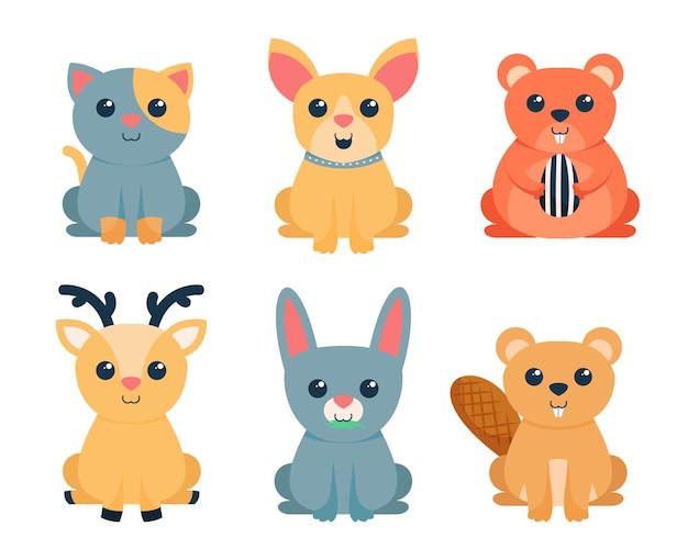 Набор милых персонажей мультфильмов животных, плоская красочная иллюстрация
