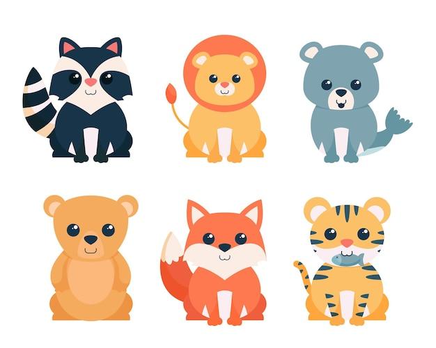 かわいい動物の漫画のキャラクターコレクション、フラットカラフルなイラストのバンドル