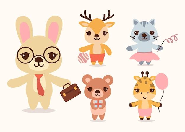 Пачка милых животных мультяшных персонажей талисмана, плоская красочная иллюстрация