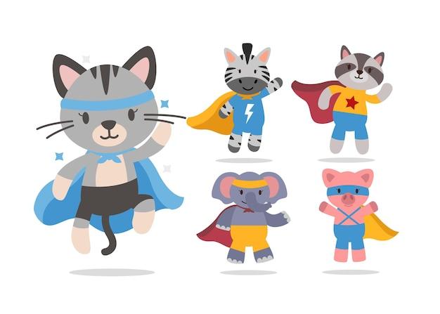 슈퍼 영웅 캐릭터 컬렉션이있는 귀여운 동물 만화 번들