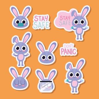 Связка милых наклеек bonnys на оранжевом фоне векторной иллюстрации дизайна