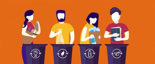 쓰레기통, 쓰레기 수거통 또는 용기에 쓰레기를 넣는 귀여운 재미있는 사람들의 번들. 가비지 수집, 분류 및 재활용을 연습하는 행복 한 남자와 여자의 집합