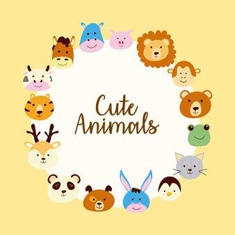 Связка милых зверюшек с головами персонажей в круглой рамке
