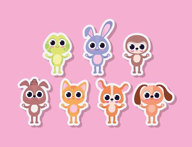 Связка милых домашних животных наклеек на розовом фоне векторных иллюстраций дизайна