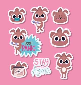 Связка милых щенков наклеек на розовом фоне векторной иллюстрации дизайна