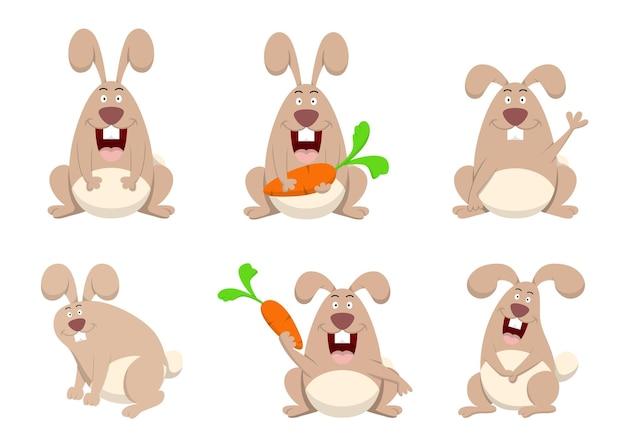 Набор милых кроликов и морковных персонажей