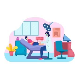 椅子に横たわっている男性と女性の患者を調べる歯科医の束