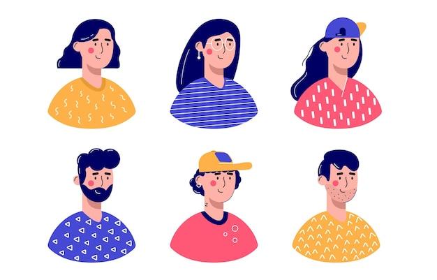 さまざまな男性と女性のアバターキャラクターのバンドル。陽気な、幸せな人々のフラットベクトルイラストセット。男性と女性の肖像画、グループ、チーム。愛らしい男と女のトレンディなパック