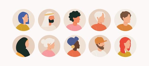 さまざまな人々のアバターの束。男性と女性の肖像画のセットです。男性と女性のアバターキャラクター。
