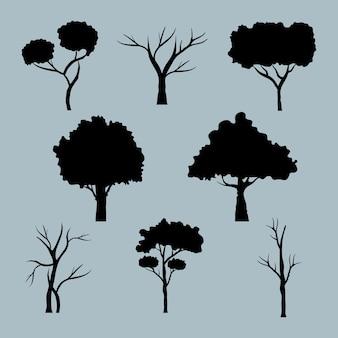 Связка из восьми деревьев лесных иконок стиля силуэта.