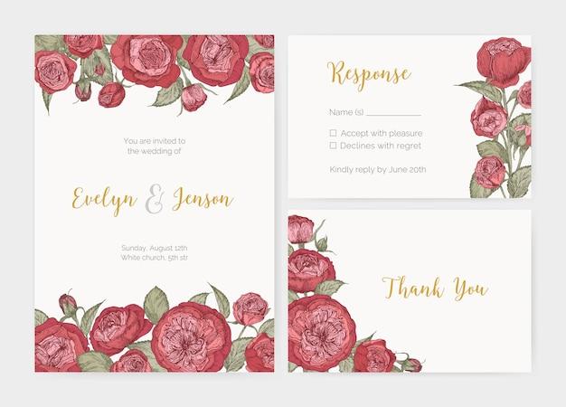 豪華な咲くイングリッシュローズの花で飾られたエレガントな結婚式の招待状、応答カード、お礼状のテンプレートのバンドル