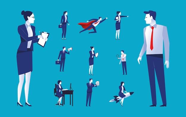 Набор из одиннадцати элегантных деловых людей, рабочих, аватаров, персонажей, иллюстрация