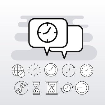 11 시간 시계 선 스타일 세트 아이콘 번들