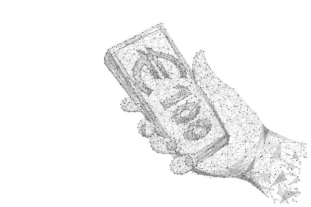 손에 유로 지폐의 번들입니다. 낮은 폴리 와이어 프레임