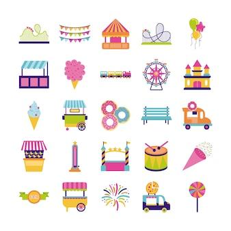 Набор ярмарки развлечений набор иконок векторные иллюстрации дизайн