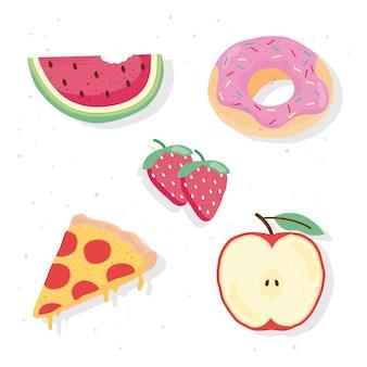 Набор из пяти свежих и вкусных блюд иконки иллюстрации