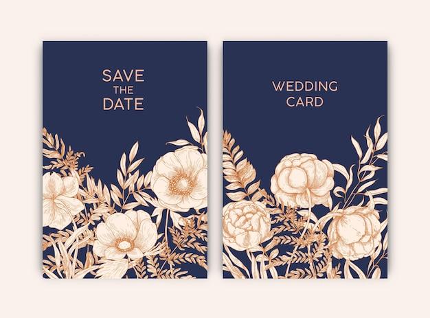 日付を保存カードと花の咲く庭の花で飾られた結婚式の招待状のための花のテンプレートのバンドル