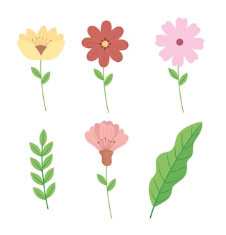 花と葉の束の装飾イラスト