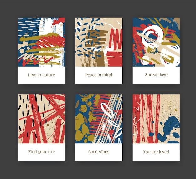 カラフルなペンキの染み、ブラシストローク、しみ、落書きの抽象的な手描きのテクスチャとチラシやはがきテンプレートのバンドル。現代アートスタイルの創造的な芸術的なベクトルイラスト。