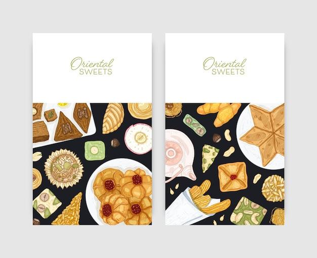 プレートにオリエンタルデザートを添えたチラシやポスターテンプレートのバンドル。伝統的なお菓子、おいしいお菓子、おいしいペストリー。菓子広告のための手描きのリアルなベクトルイラスト。