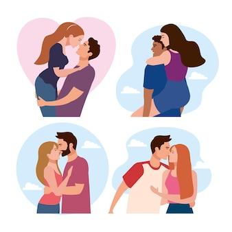4つのカップルの恋人のキャラクターのバンドル