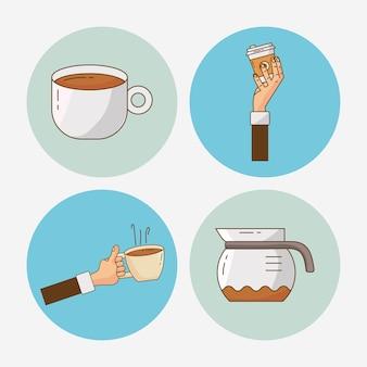 4 개의 맛있는 커피 세트 요소 그림 번들
