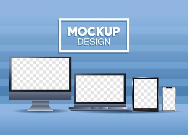 Набор из четырех устройств, брендинговых значков, иллюстраций