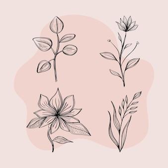 4つの描画花の束
