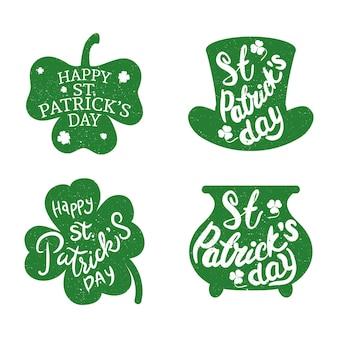 4つの幸せな聖パトリックの日のレタリング緑のイラストのバンドル