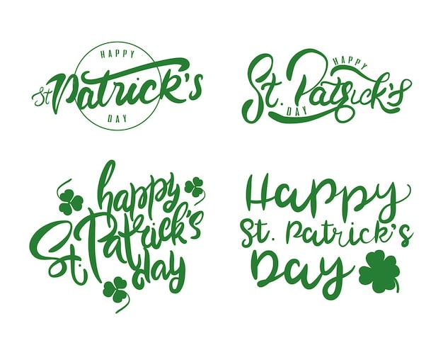 4つの幸せな聖パトリックの日のレタリングイラストのバンドル