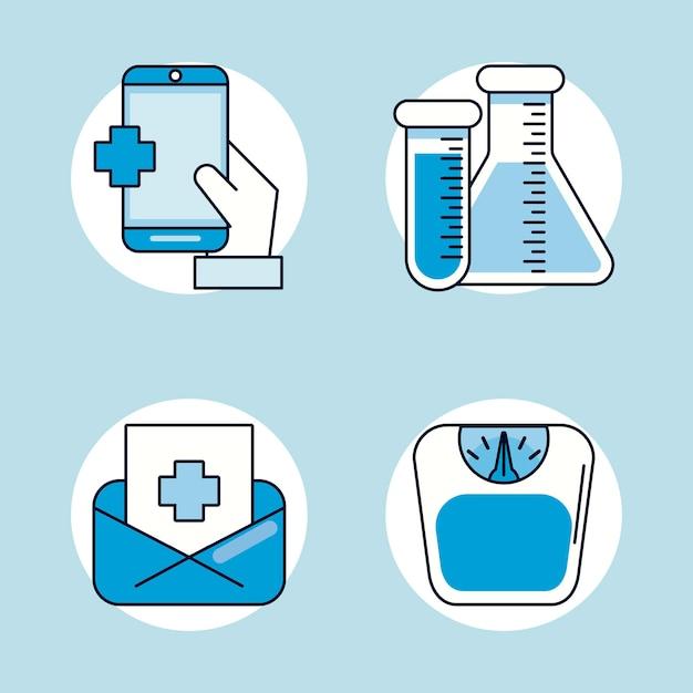 4 개의 의료 건강 세트 아이콘 번들