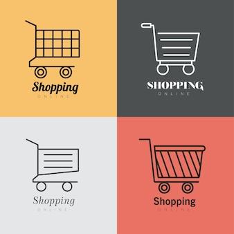 4 개의 쇼핑 카트 라인 스타일 아이콘 일러스트 디자인 번들