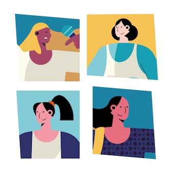 네 명의 여성 다른 직업 캐릭터 일러스트 번들