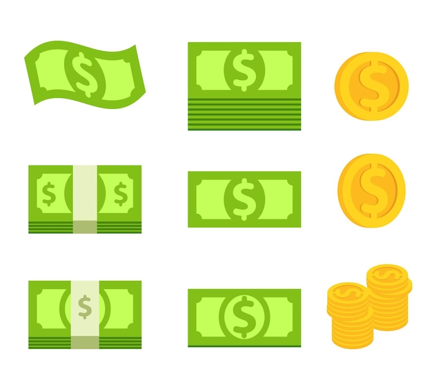 녹색 지폐의 번들 및 고립 된 노란색 동전의 스택