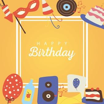 생일 축하 평면 스타일 아이콘과 프레임의 글자 번들