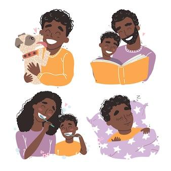 행복한 사랑의 가족 장면 번들. 자녀를 교육하고 가르치는 어머니와 아버지. 평면 그림. 행복한 어린 시절 개념.