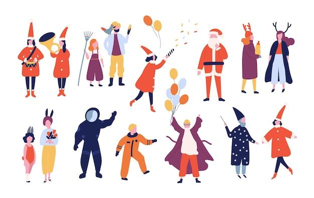 休日の仮面舞踏会、休日のカーニバル、白い背景で隔離のクリスマスパーティーのためのさまざまなお祝いの衣装に身を包んだ幸せな男性と女性のバンドル。フラット漫画スタイルのイラスト。