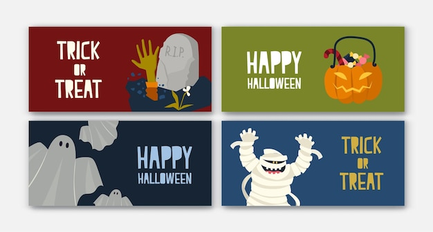 ハロウィーンのキャラクターが付いた水平ホリデーウェブバナーテンプレートのバンドル-ミイラ、キャンディー付きジャックオーランタン、ゴースト。お祝いのお祝い、プロモーションのためのフラット漫画ベクトルイラスト。