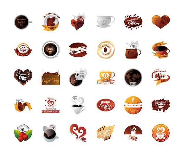 Набор иконок международного дня кофе на белом фоне