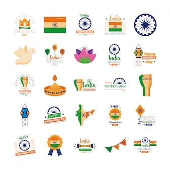 インド独立記念日のお祝いアイコンのバンドル