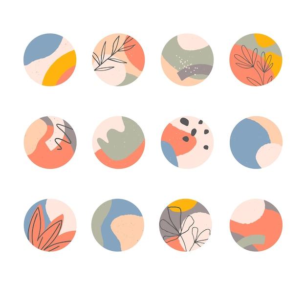 인스 타 하이라이트 번들, 손으로 그린 유기적 모양의 현대적인 레이아웃, 추상적 인 배경, 소셜 미디어 마케팅을위한 트렌디 한 디자인.
