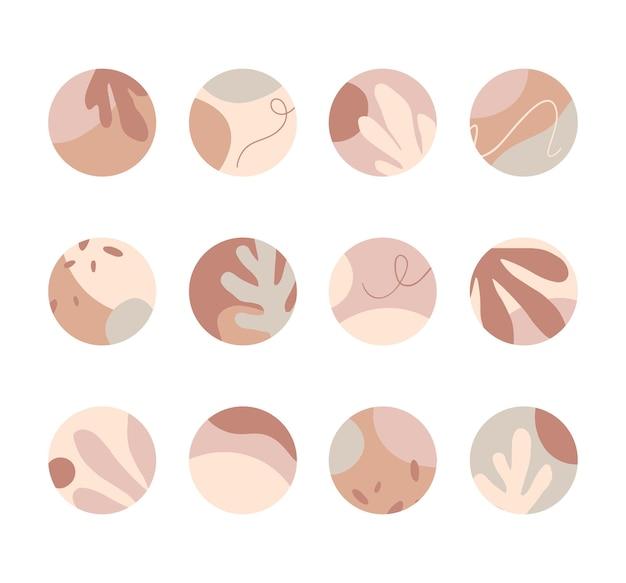 Набор обложек с подсветкой insta. современные векторные макеты с нарисованными вручную органическими формами и текстурами. абстрактный фон. модный дизайн для маркетинга в социальных сетях.