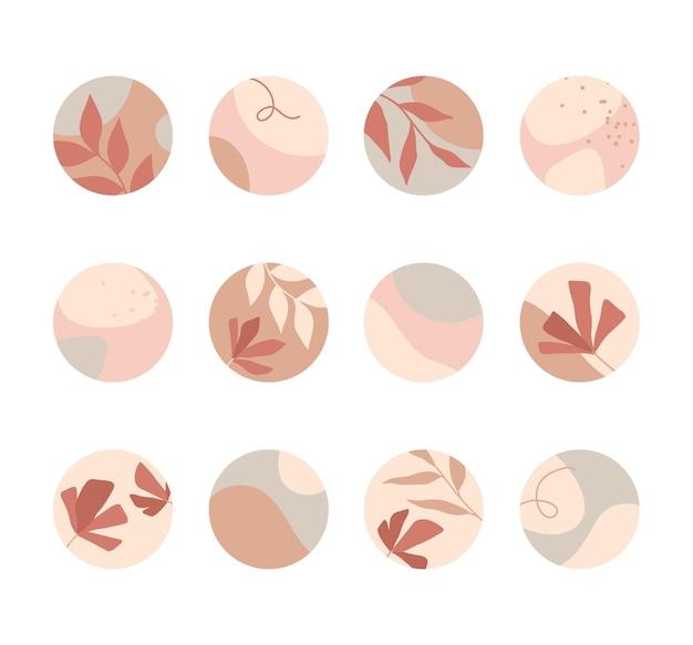 Набор обложек с подсветкой insta. современные векторные макеты с нарисованными вручную органическими формами, цветами и текстурами. абстрактные фоны. модный дизайн для маркетинга в социальных сетях.