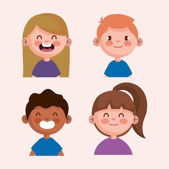 小さな子供たちのキャラクターのイラストデザインのバンドル