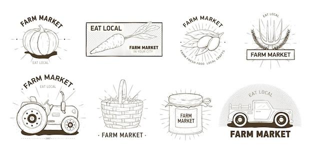 農産物市場、地元産の野菜、オーガニック製品のロゴタイプのバンドル。白い背景の上の等高線で手描きのロゴやエンブレムのセットです。モノクロのリアルなベクトルイラスト。